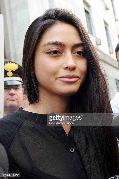 Ambra Battilana lspeaks to waiting media outside the courthouse after the verdicts in the 'Ruby bis' case on July 19 2013 in Milan Italy Nicole...