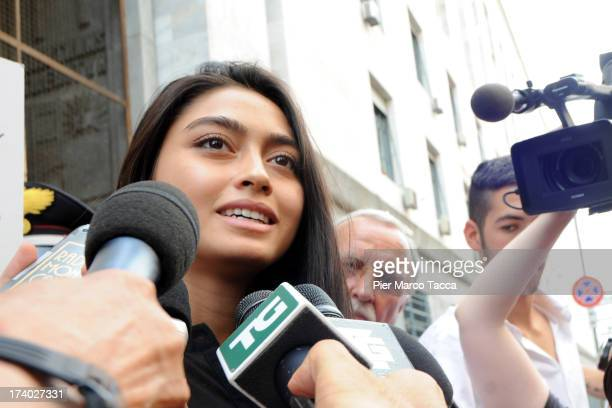 Ambra Battilana speaks to waiting media outside the courthouse after the verdicts in the 'Ruby bis' case on July 19 2013 in Milan Italy Nicole...