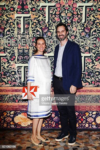 Ambra Medda and guest attend the T Celebration of Culture Issue And Milan Design Week at Palazzo Crespi on April 11 2016 in Milan Italy