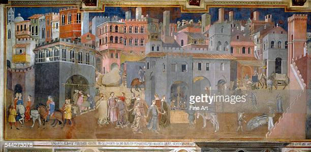Ambrogio Lorenzetti Allegory of Good and Bad Government The Effects of Good Government in the City fresco 13389 Palazzo Pubblico Siena Italy