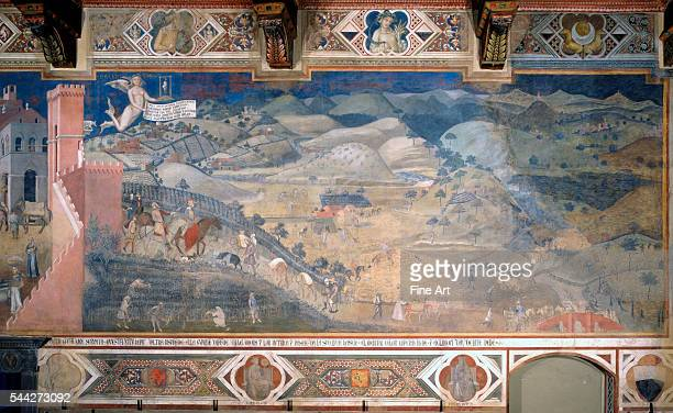 Ambrogio Lorenzetti Allegory of Good and Bad Government The Effects of Good Government in the Countryside fresco 13389 Palazzo Pubblico Siena Italy