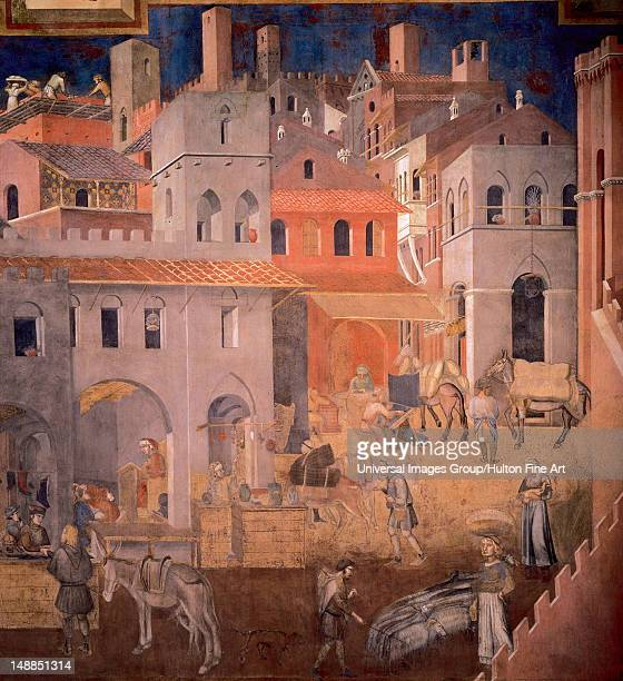 Ambrogio Lorenzetti Effects of Good Government in the city Fresco Detail Merchants in the walled city of Siena