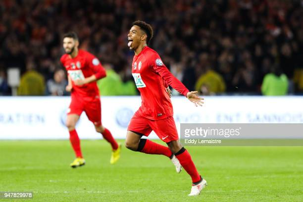 Ambroise Gboho of Les Herbiers celebrates after scoring a goal during the French Cup semi final match between Les Herbiers and Chambly at Stade de la...