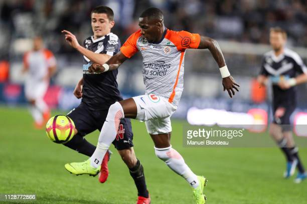 Ambroise Oyongo Bitolo of Montpellier during the Ligue 1 match between Bordeaux and Montpellier at Stade Matmut Atlantique on March 5 2019 in...