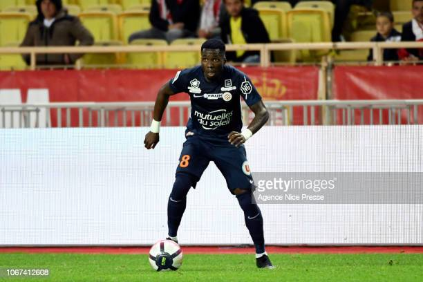Ambroise Oyongo Bitolo of Montpellier during the Ligue 1 match between AS Monaco and Montpellier Herault on December 1 2018 in Monaco Monaco
