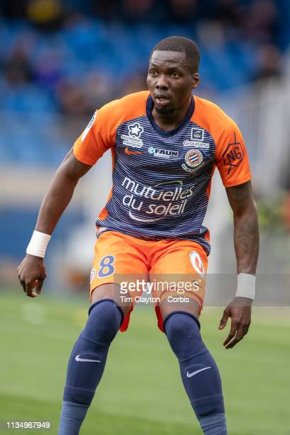 Ambroise Oyongo Bitolo of Montpellier during the Montpellier V Angers French Ligue 1 regular season match at Stade de la Mosson on March 10th 2019 in...
