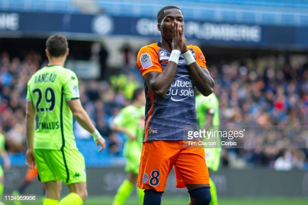 Ambroise Oyongo Bitolo of Montpellier reacts after missing a chance during the Montpellier V Angers French Ligue 1 regular season match at Stade de...
