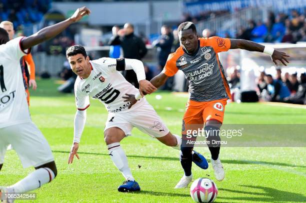 Ambroise Oyongo of Montpellier and Benjamin Andre of Rennes during the Ligue 1 match between Montpellier and Rennes at Stade de la Mosson on November...