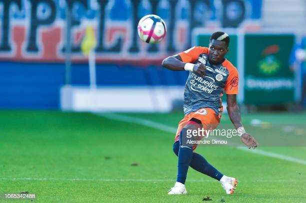 Ambroise Oyongo of Montpellier during the Ligue 1 match between Montpellier and Rennes at Stade de la Mosson on November 25 2018 in Montpellier France