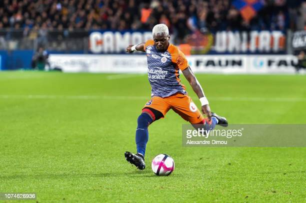 Ambroise Oyongo of Montpellier during the Ligue 1 match between Montpellier and Lyon at Stade de la Mosson on December 22 2018 in Montpellier France