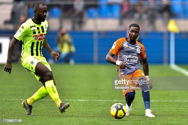 Ambroise Oyongo of Montpellier during the Ligue 1 match between Montpellier and Angers at Stade de la Mosson on March 10 2019 in Montpellier France