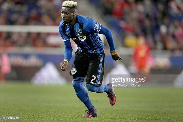 Ambroise Oyongo of Montreal Impact during the New York Red Bulls Vs Montreal Impact MLS playoff match at Red Bull Arena Harrison New Jersey on...