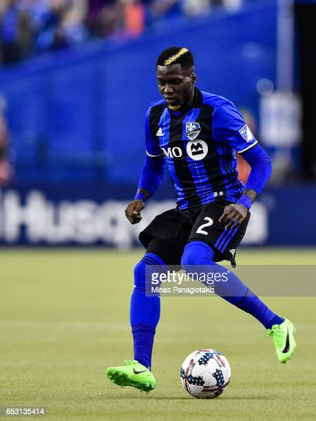 Ambroise Oyongo of the Montreal Impact controls the ball during the MLS game against the Seattle Sounders FC at Olympic Stadium on March 11 2017 in...