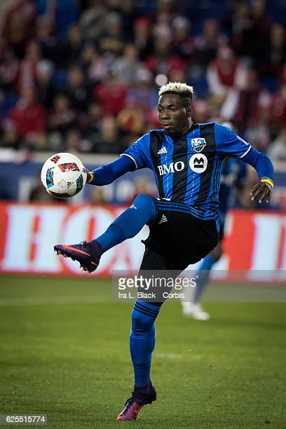 Ambroise Oyongo of the Montreal Impact during the second leg of the 2016 MLS Eastern Region Conference Semifinal match between the Montreal Impact...