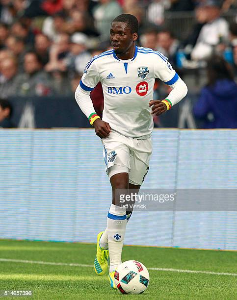 Ambroise Oyongo of the Montreal Impact plays the ball during their MLS game against the Vancouver Whitecaps March 6 2016 at BC Place in Vancouver...