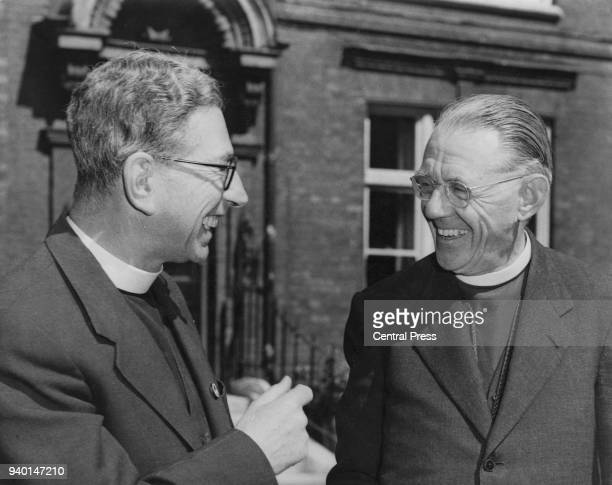 Ambrose Reeves the Bishop of Johannesburg with Canon John Collins in London after being departed from South Africa following his reactions to the...