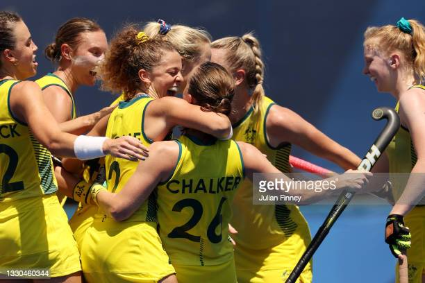 Ambrosia Malone of Team Australia congratulates Emily Chalker after Chalker scored a goal during the Women's Pool B match against Team Spain on day...