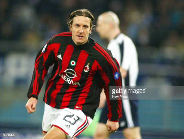Ambrosini celebrates after scoring during the Serie A game between Lazio and Milan on February 29 in Rome Italy