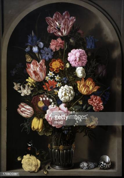 Ambrosius Bosschaert the Elder Dutch painter Bouquet of flowers in a stone niche 1618 National Museum of Art Copenhagen Denmark