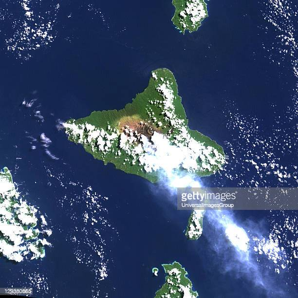 Ambrym Island Vanuatu true colour satellite image Ambrym volcano is a large shield volcano with a 12kmwide caldera with two active cones Mont Benbow...