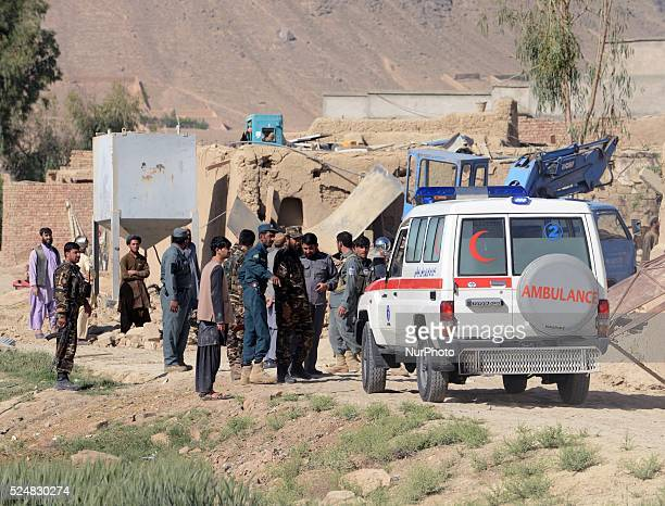 AFGHANISTAN KANDAHAR Ambuances are about to carry the injurds and killeds to the hospital Five police and five innocent citizens injured and one...