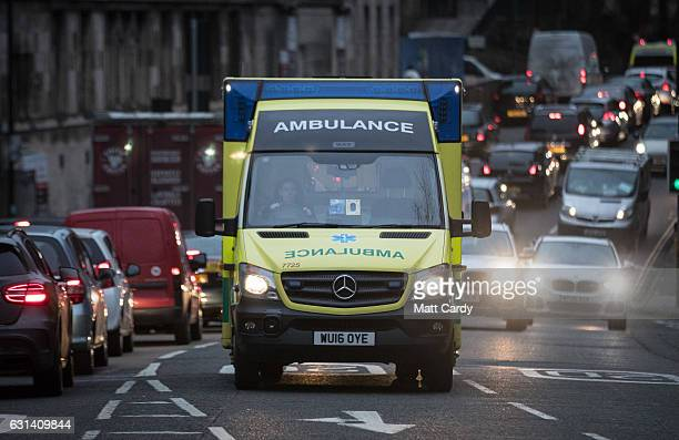 A ambulance arrives at the Accident and Emergency department of the Bristol Royal Infirmary on January 10 2017 in Bristol England According to...