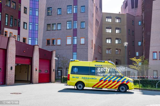 Ambulance arriving at the emergency room of the Isala hospital on April 18 2020 in Zwolle Netherlands Instead of adopting a hard lockdown similar to...