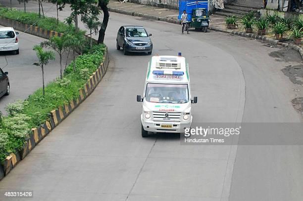 Ambulance carrying K Narayanan Kutty Nair's heart from MGM hospital Vashi to Fortis Hospital Mulund via green corridor on August 72015 in Navi Mumbai...