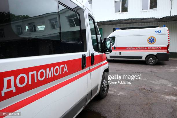 Ambulance cars are pictured during the ambulance drivers strike for non-payment of salary and lack of personal protective equipment on the premises...