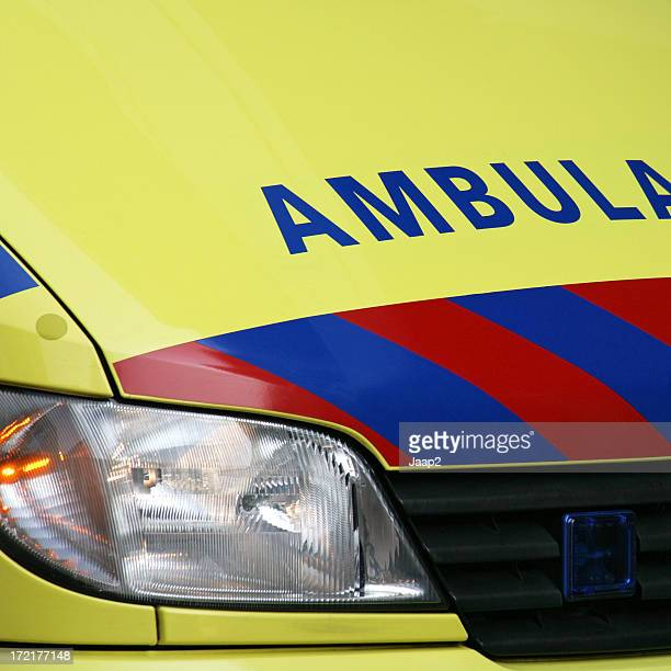 Ambulance, front detail of a yellow Dutch medical emergency van