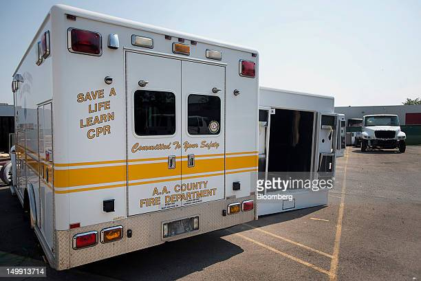 Ambulance modules sit on a chassis in the parking lot of the Horton Emergency Vehicles facility in Grove City Ohio US on Friday Aug 3 2012 Horton...