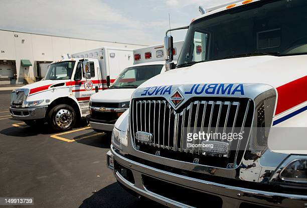 Ambulance modules sit parked outside of the Horton Emergency Vehicles facility in Grove City Ohio US on Friday Aug 3 2012 Horton Emergency Vehicles a...