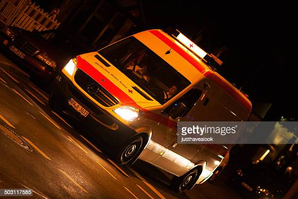 Ambulance of Red Cross in night