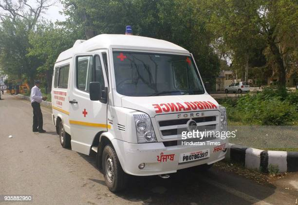 Ambulance sent by Nawanshahr administration to receive mortal remains of Jasbir Singh and Parminder Singh who are among 39 Indians dead in Iraq at...