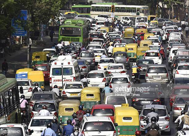 Ambulance stuck during the Huge Traffic at Vikas Marg near PHQ on April 18 2016 in New Delhi India Day four of the Delhi governments oddeven...