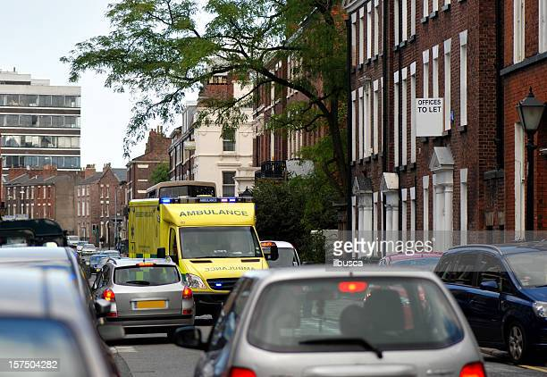 Ambulance stuck in the street traffic