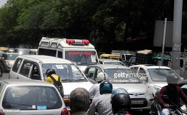 Ambulance stuck in the traffic jam during the Municipal Corporation of Delhi workers protest against Delhi Chief Minister Arvind Kejriwal's residence...