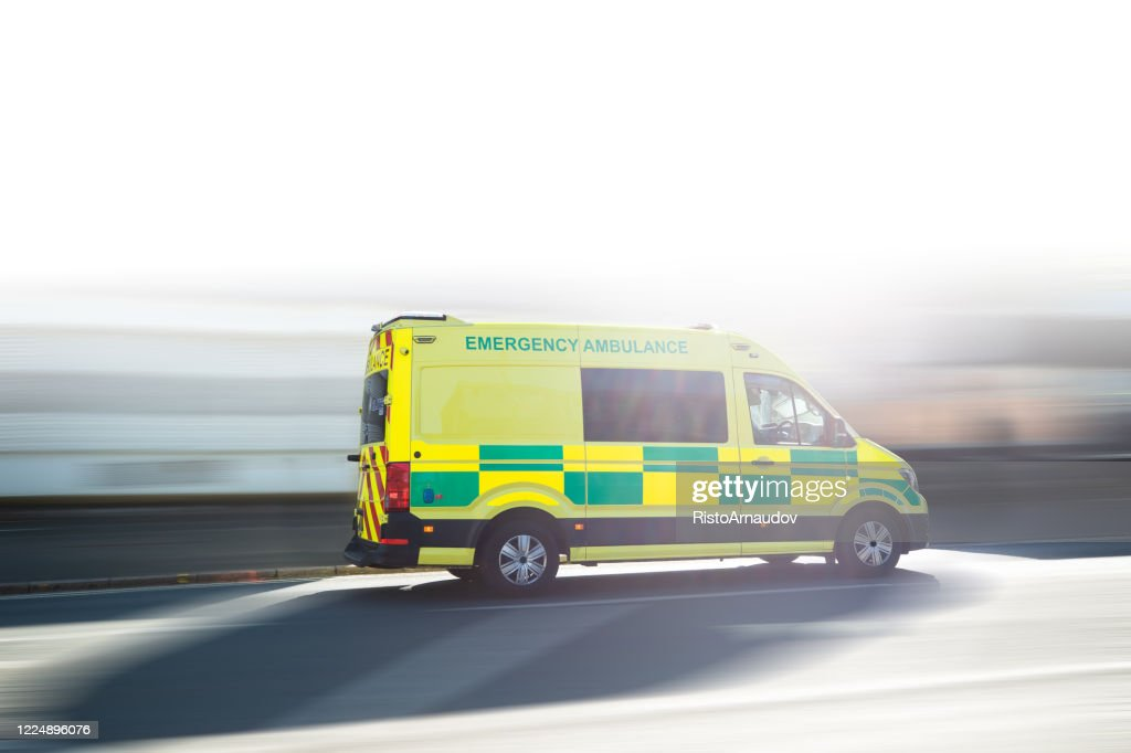 Ambulance UK respond to an Emergency in downtown : Stock Photo