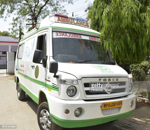 Ambulance used by the members of 'Ambulance Gang' caught by Ghaziabad crime branch on April 30 2017 in Ghaziabad India