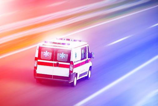 Ambulance van on highway, emergency 912290332