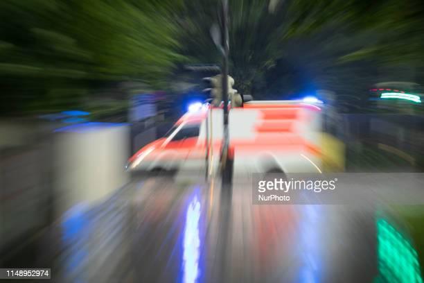Ambulance with flashing blue light on June 10 in Munich Germany