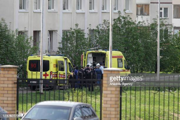 Ambulances and medical staff arrive at scene after an armed school attack carried out in Tatarstan's capital Kazan in Russia, casualties feared, on...