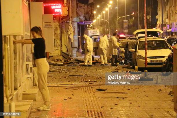 Ambulances and police squads are dispatched to the Iskenderun district of Turkey's southern Hatay province after an explosion shook the town center...