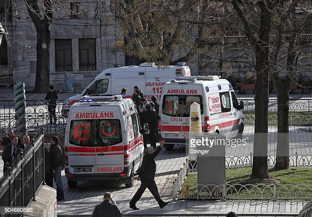Ambulances and police were despatched to the blast site after an explosion in the central Istanbul Sultanahmet district on January 12 2016 in...