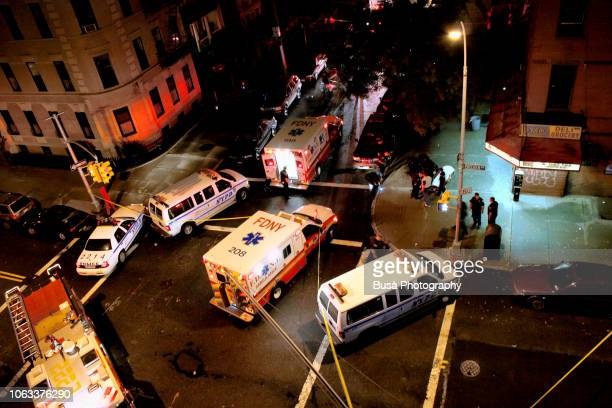 ambulances and vans from the nypd and the fdny in an intersection in brooklyn, new york city - horrible car accidents stock pictures, royalty-free photos & images