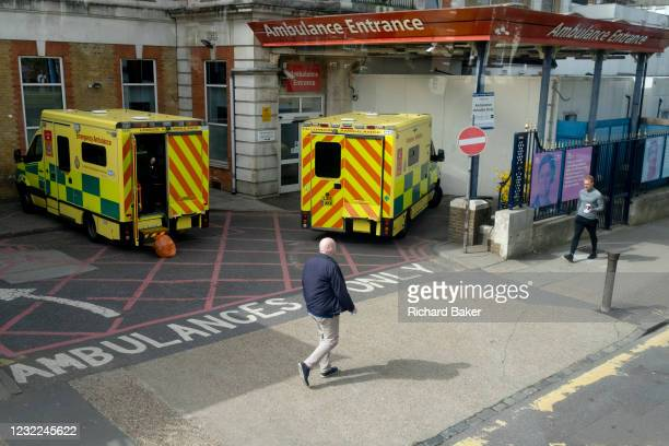 Ambulances are parked in the A&E emergency bay of King's College Hospital in Camberwell, a major south London trauma centre, on 1st April 2021, in...