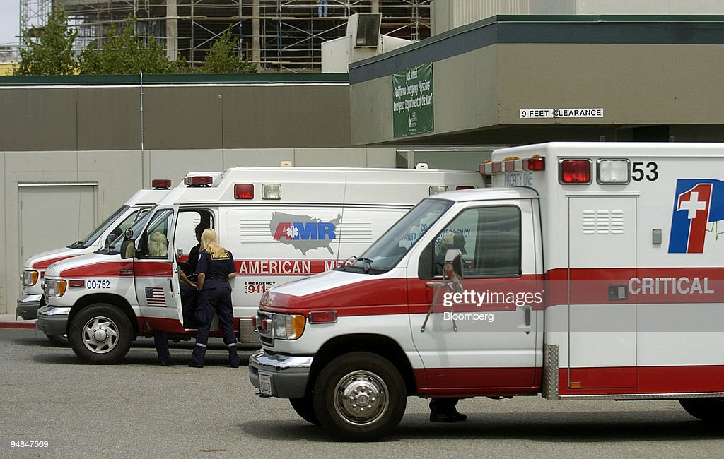 Ambulances are parked outside the emergency room at Good Sam ...