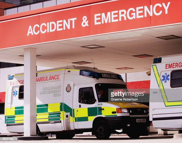 Ambulances are seen at the Accident and Emergency department of St Thomas' Hospital on March 3 2005 in London England The government has announced...