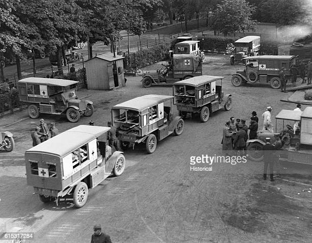 Ambulances arrive at American Military Field Hospital in Neuilly France June 7 1918 | Location Neuilly France