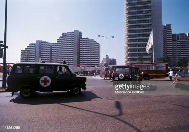 Ambulances arrive at the Olympic Village during the hostagetaking of the Israeli athletes Munich Olympic Games 1972